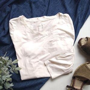 PURE JILL • Pima cotton cream long sleeve t-shirt